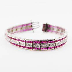 Art Deco Style Ruby and Diamond Bracelet