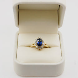 Oval Sapphire with Round Brilliant Diamond Halo