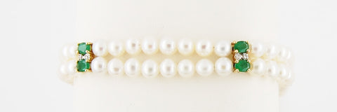 Emerald, Pearl, & Diamond Bracelet