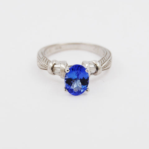 Oval Tanzanite and Baguette Diamond Ring