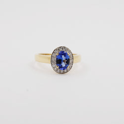 Vivid Tanzanite with Diamond Halo Ring