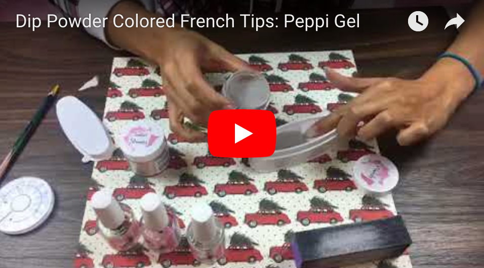 Dip Powder Colored French Tips: Peppi Gel