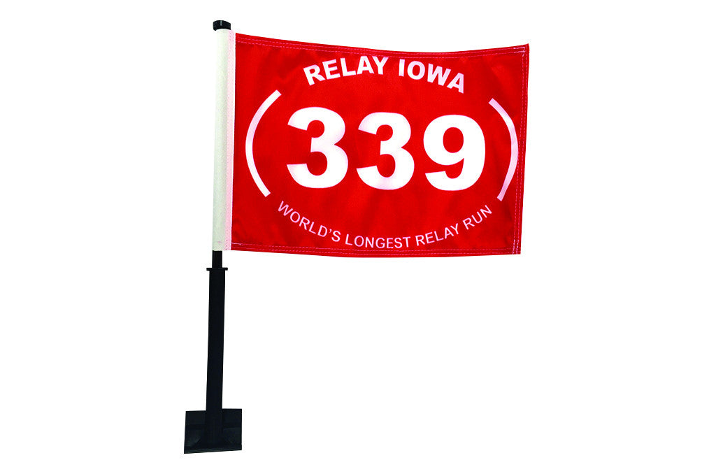 Relay Iowa Car Flags - Red with White 339