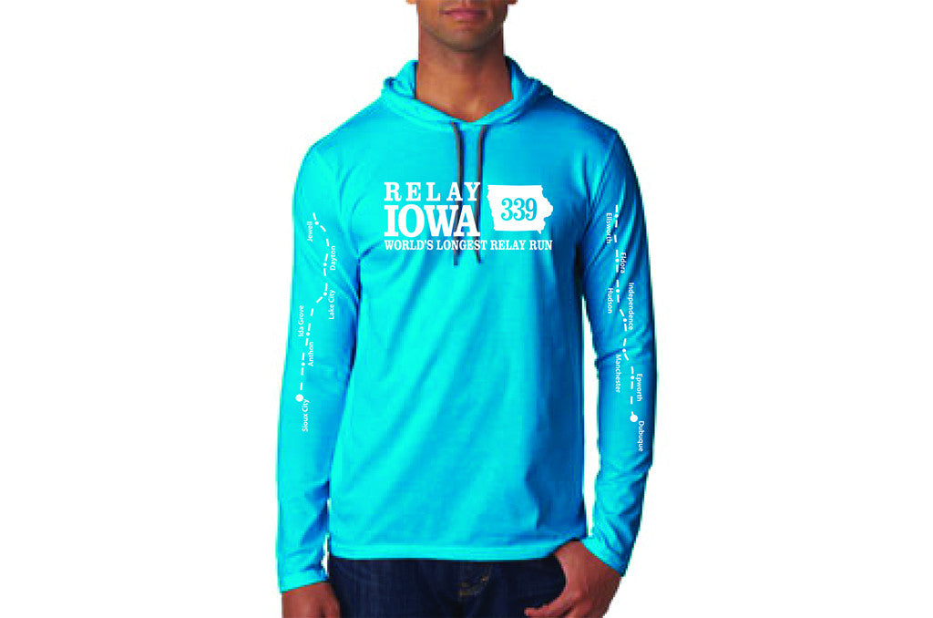 Relay Iowa ADULT Lightweight Long Sleeve Hooded T - Caribbean Blue - FREE SHIPPING