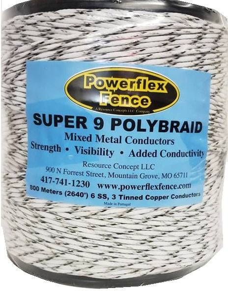 2640' PolyBraid w/ 6 stainless steel & 3 tin-copper conductors, black & white
