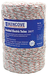 Braided Electric Twine 9-Strand Mixed-Metals, White, 2,640'