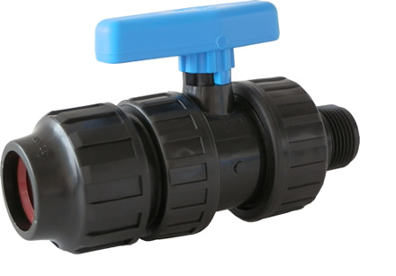 "1"" PE Compression x 1"" Male NPT Valve IPS (SDR IPS HDPE PIPE ONLY)"