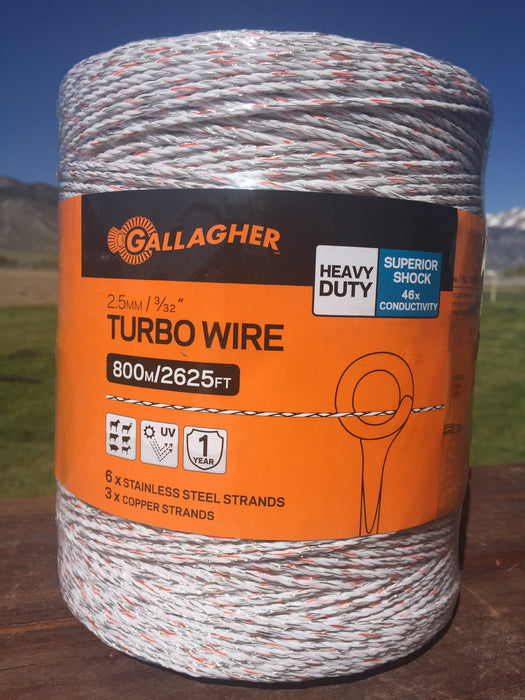 Gallagher G62089 Turbo Wire Fence, 2625', White