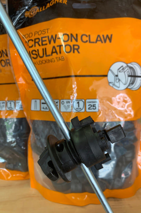 Gallagher Screw-on Claw Rod Post Insulator