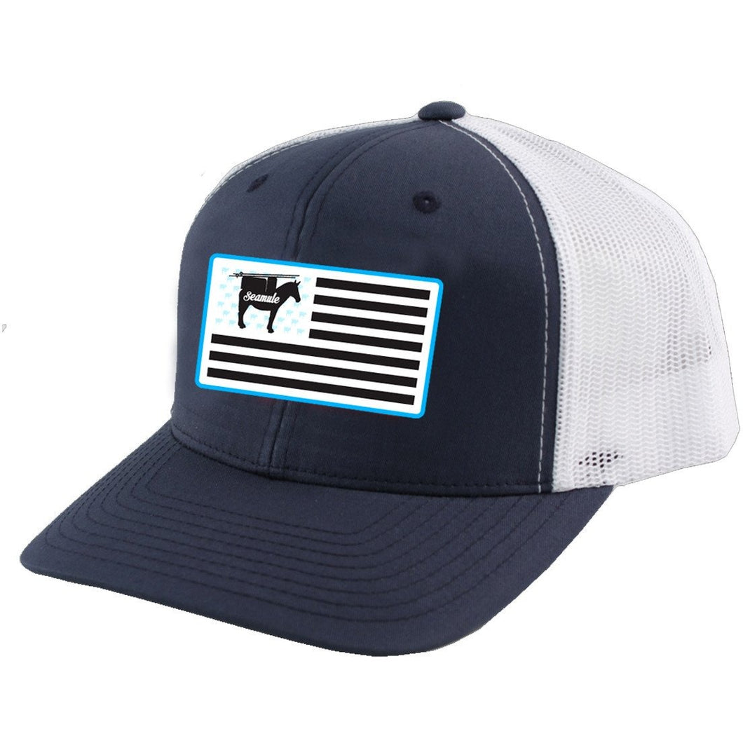 Navy and White Snapback Trucker Hat