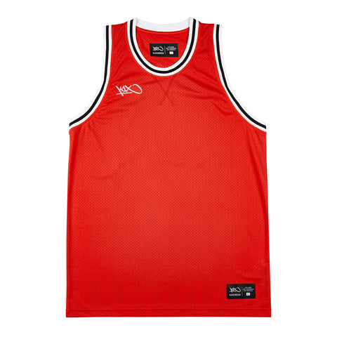 hardwood big hole mesh double x jersey - red/black