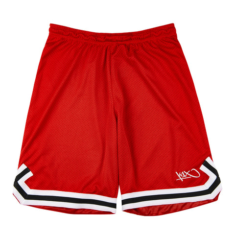 hardwood big hole mesh double x shorts - red/black