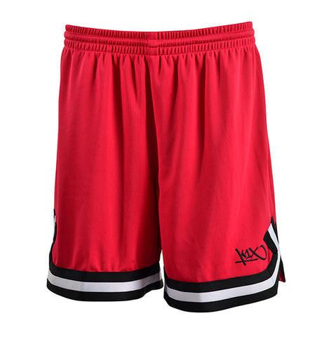 k1x hardwood ladies double x shorts - cherry red/black/white