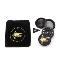 High Focus - 4 Part Metal Herb Grinder - Black / Gold