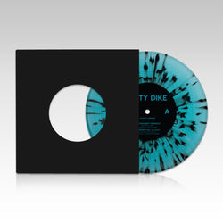 "Dirty Dike - 'Permanent Midnight' Aqua Marine/Black Splatter 7"" single (LIMITED EDITION VINYL PRE ORDER)"