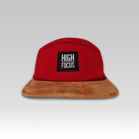 High Focus - Red / Suede 5 Panel Cap