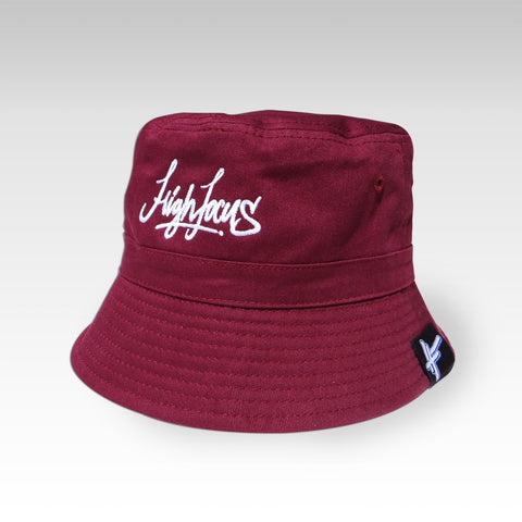 High Focus - Burgundy Script Bucket Hat