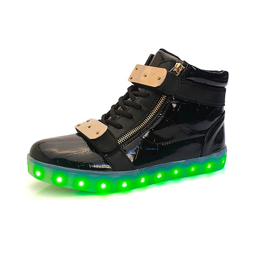 72822870b5c2 Gold Plated High Top Luxury Metal Training Shoes LED Flashing Light Up  Hover Shoes - LED ...