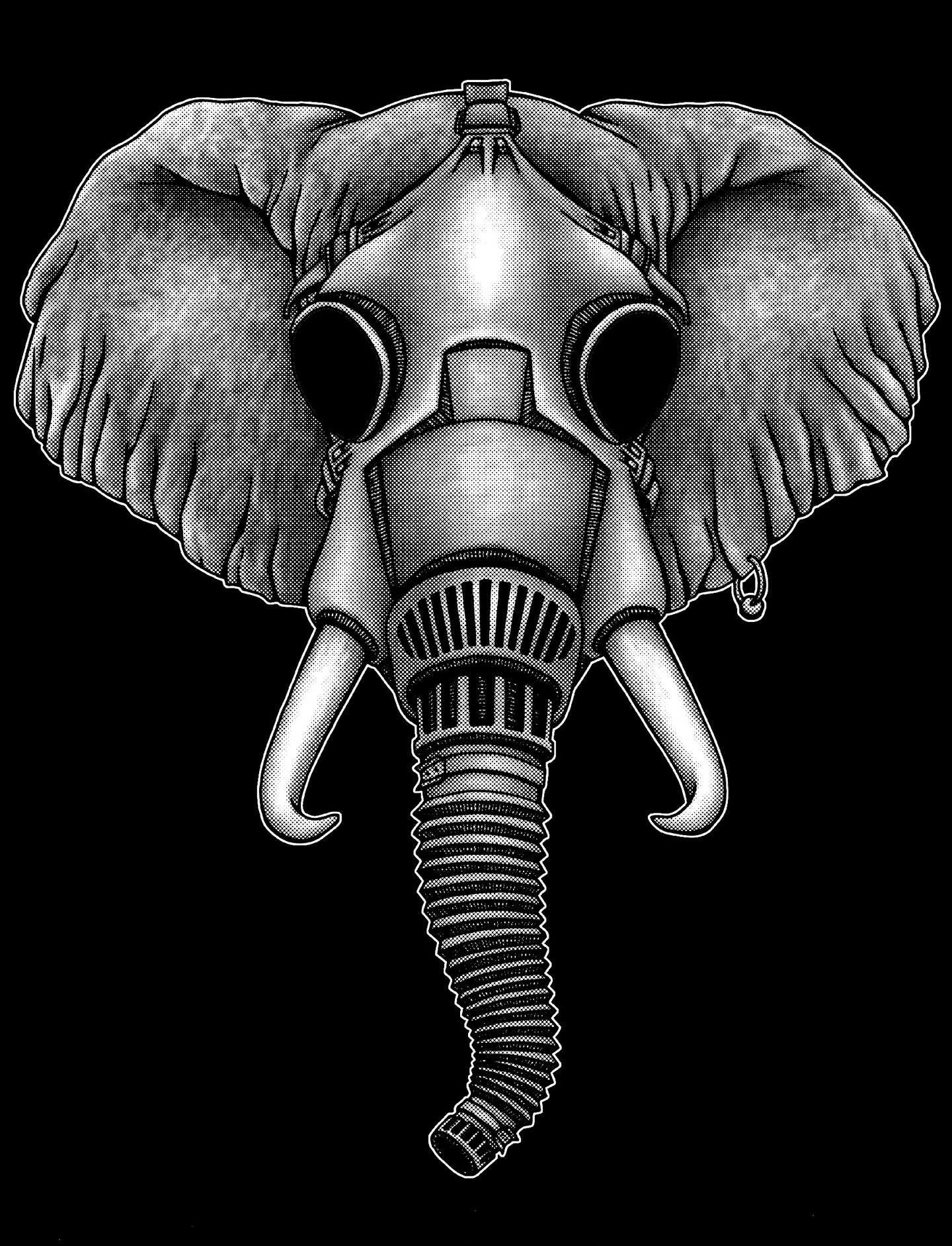 Elephant Gas Mask - Black T-shirt