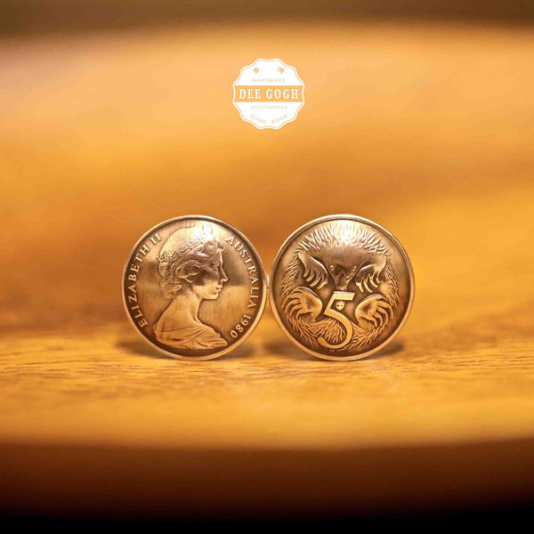 Cufflinks with Australian and New Zealand Coins