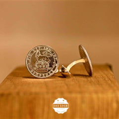 Cufflinks with British Old 6 Pence