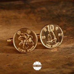 Cufflinks with Hong Kong Commemorative Coins of 1997