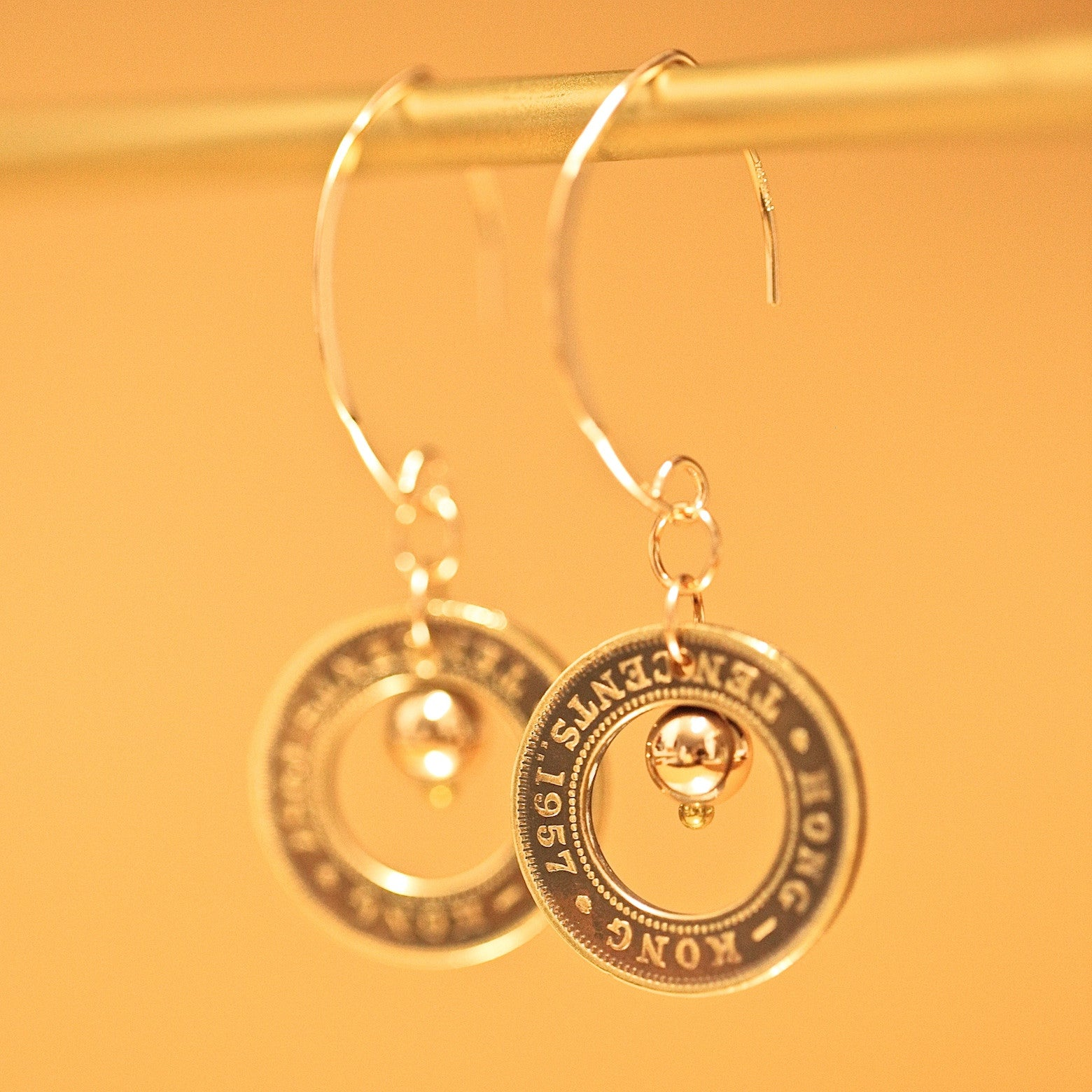 The Aura Dangling Earrings with Old Hong Hong 5 Cents or 10 Cents