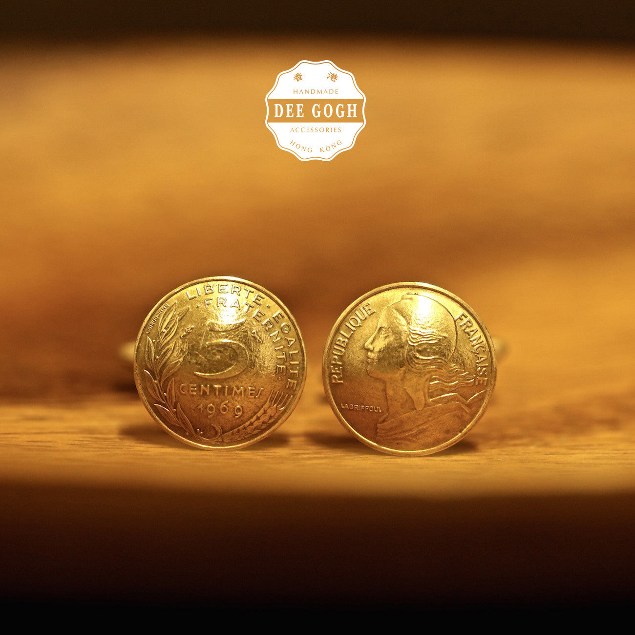 Cufflinks with French Coins