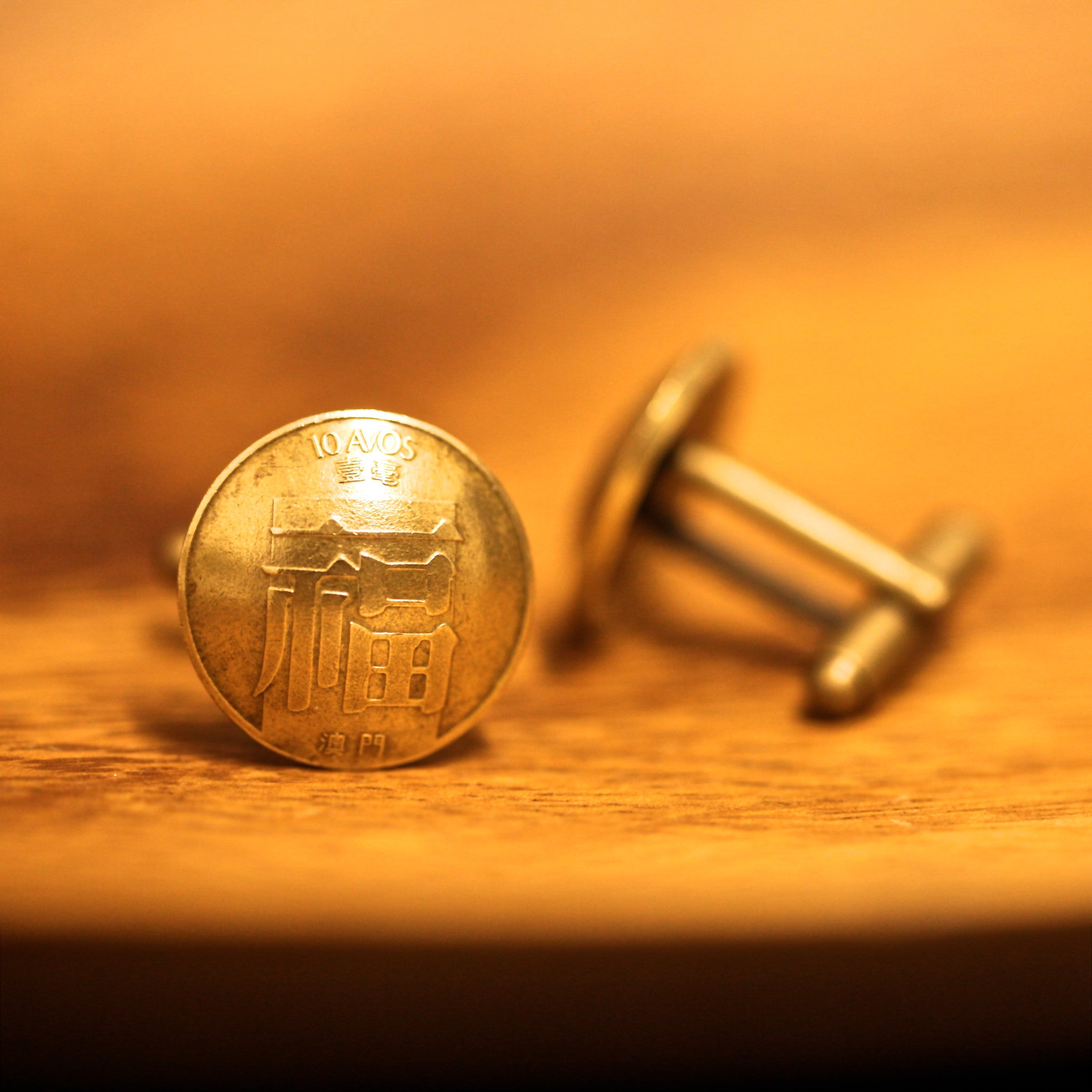 Cufflinks with Macau Coins