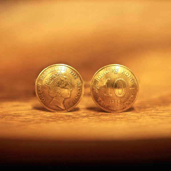 Cufflinks with Hong Kong Old 10 Cents (Small)