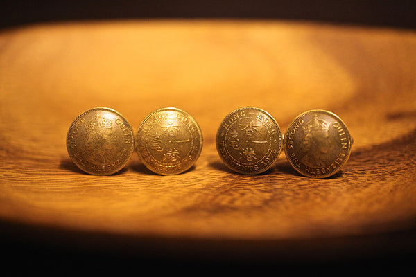 Cufflinks with Hong Kong Old 10 Cents (Queen Elizabeth II) 1955-1961