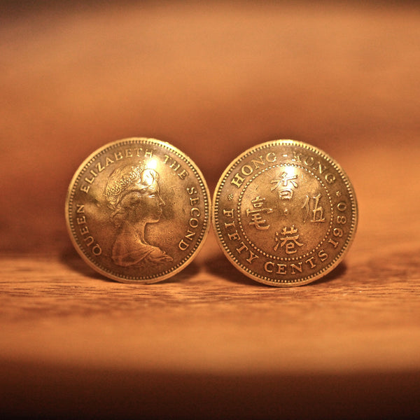 Cufflinks with Hong Kong Old 50 Cents in Brass Color (1977-1990)