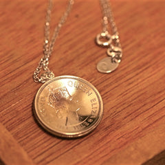 Old Hong Kong 50 Cents in Silver Color Pendant