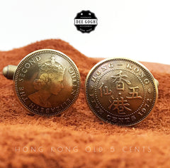 Cufflinks with Hong Kong Old 5 Cents