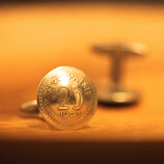 Cufflinks with Indian Coins
