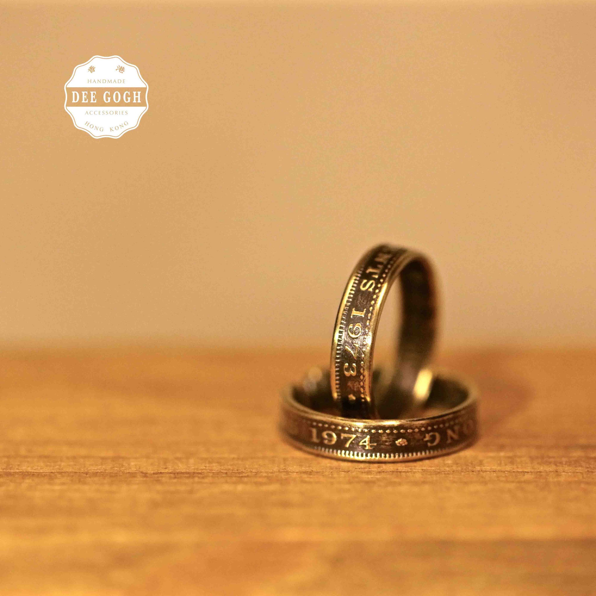 Ring with Old HK 10 Cents