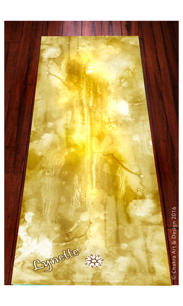 Solar™ (gold) Spiritual, Artistic, unique chakra yoga mat - Chakra Art and Design LLC