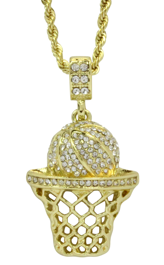 Iced out basketball pendant 14k gold plated 24 rope necklace iced out basketball pendant 14k gold plated 24 rope necklace mozeypictures Gallery