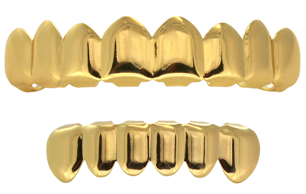 Custom Fit 8 Teeth Top 6 Bottom Grillz Set 14K Gold Plated w/Molds