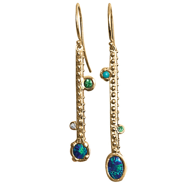 BOHEME LONG DANGLE MISMATCHED EARRING