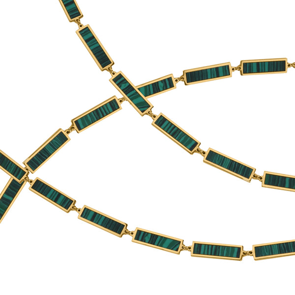 BOHEME LA BELLE MALACHITE INLAY GOLD CHAIN rts