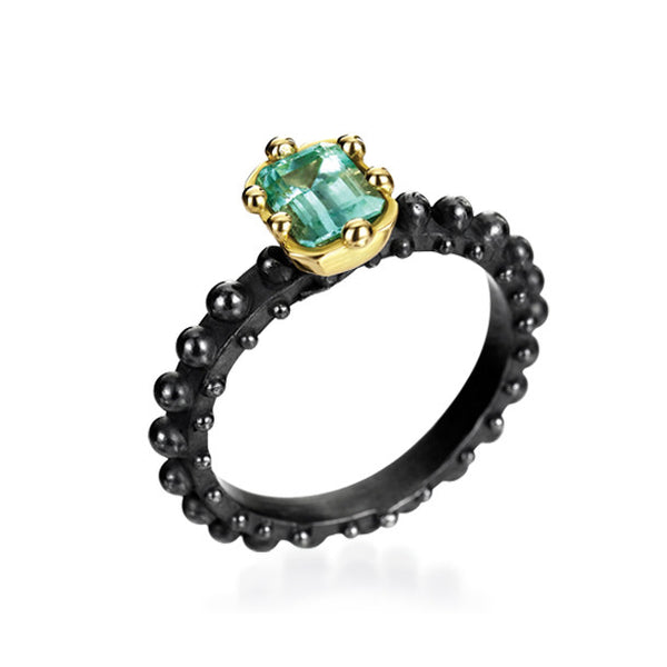 bespoke emerald edgy alternative bridal engagement ring