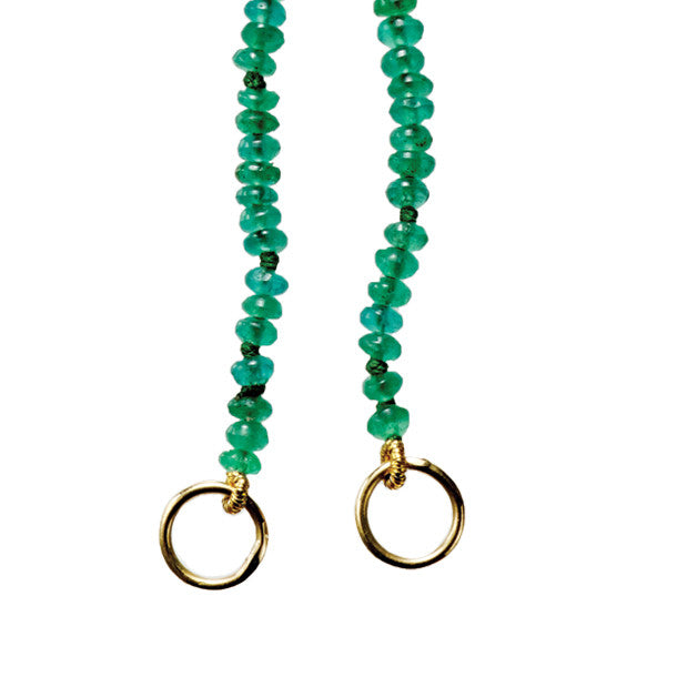 EMERALD & GOLD HOOPS CHARM OPEN CHAIN