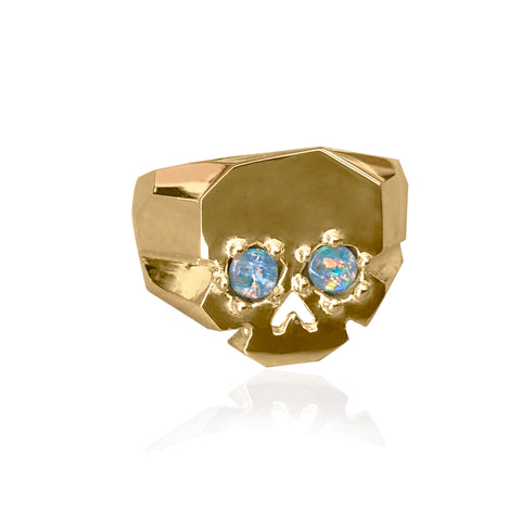 FACETTE OPAL EYES SKULL RING