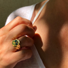 FACETTE OPAL EYES SKULL RING rts