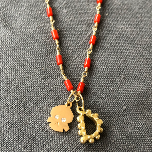 For DANA: BOHEME SIGNATURE CORAL BEAD CHAIN & D CHARM