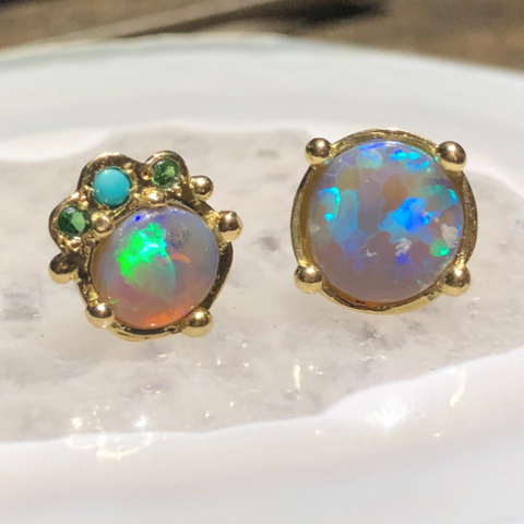 CUSTOM HAPPY BEACH DAY BOHEME OPAL STUDS