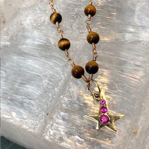 For DANA: BOHEME SIGNATURE TIGER EYE BEAD CHAIN & BONNE ETOILE CHARM