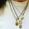 BOHEME LAPIS and GOLD HOOPS OPEN CHAIN rts