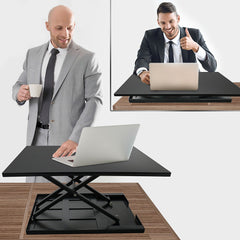 Standing Desk Converter Adjustable Height - Sit To Stand Up Desktop Table Riser - Elevating Computer Laptop Notebook Workstation Rising Portable Tabletop - Best Office Exercise Work Station - UltimateDeals.net